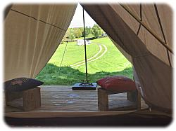 views of mountains from bell tent